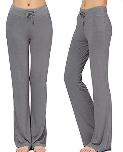 Pantalones Largos Modales Cómodos de Lazo del Cordón de Las Mujeres Sueltos de la Pierna Recta para la Yoga Que se Ejecuta Sporting Negro M