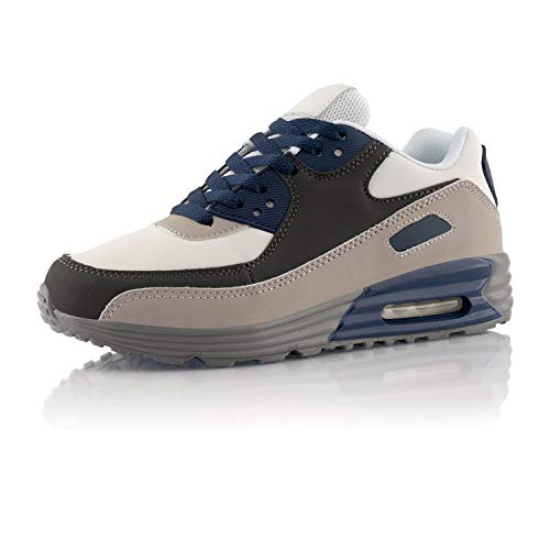 Fusskleidung® Damen Herren Sportschuhe Dämpfung Sneaker leichte Laufschuhe Weiß Dunkelblau Grau EU 41