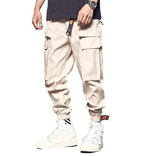 Carga de Combate de Trabajo para Hombres con Bolsas Hebilla Correas Trabajo de Hombre Pantalones de Ocio, Hip-Hop Street Hombres Pantalones Sueltos Pantalones elásticos de Moda Hip-Hop Street Hombres