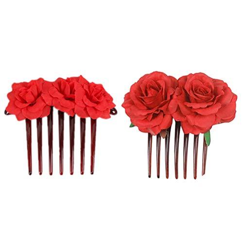 Lurrose 2 peinetas para el pelo de rosas de tela roja, accesorios...