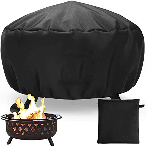 Fire Pit Cover, Outdoor Fire Bowl Cover Waterproof Heavy Duty Oxford Fabric with Thick PVC Coating, Adjustable Drawstring (85 * 40cm)