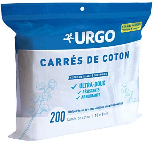 Urgo - Carrés de Coton - Ultra-doux Absorbants - Coton de Qualité contrôlée - Format Familial 10 x 8 cm