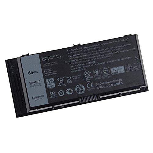 N71FM Laptop Battery for Dell Precision M4600 M4700 M6600 M6700 M4800 M6800 Series Notebook Compatible T3NT1(11.4V 65Wh)