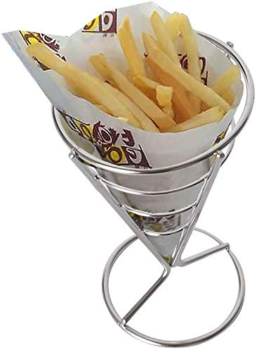 PLEASUR Hohe Qualität Mini Bratkörbe Edelstahl Frittierkorb Sieb Servieren Präsentation Pommes Frites Korb Küche Werkzeuge Tisch Handwerk Vorspeise Kegel (10, 10 * 9,8)