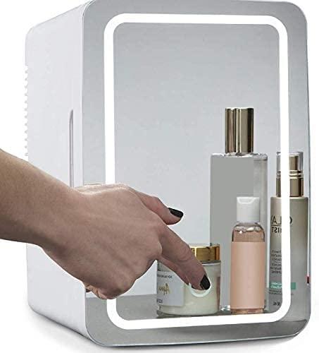 Mini refrigerador, refrigerador cosmético portátil de 8 l, panel de vidrio e iluminación LED, refrigerador más frío / caliente, utilizado para maquillaje y cuidado de la piel, también se puede usar e
