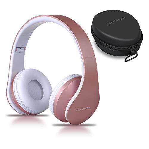 Bluetooth Kopfh?rer Over Ear, Kabellose Headset Stereo Wireless Bluetooth-Kopfh?rer mit Mikrofon Klappbares Design f¨¹r Android, PC und andere Bluetooth by WorWoder - Rose Gold