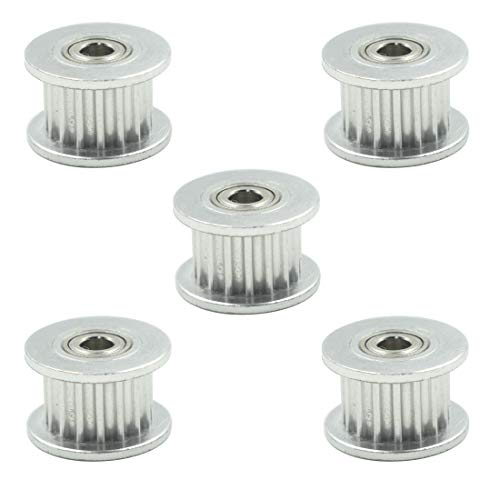TOUHIA 5 piezas GT2 Polea de distribución de correa de 16 dientes de 3 mm para impresora 3D de 6 mm de ancho (plata, aleación de aluminio)