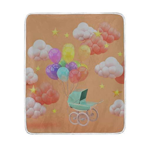 "Throw Blanket Green Stroller Floating Balloons Surrounded by Soft Blanket Warm Plush Blanket for Sofa Chair Bed Office Gift Best Friend Women Men 50""x60"" Kids Throw Blanket"
