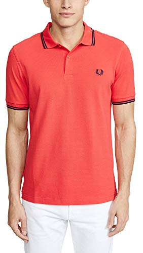 Fred Perry Twin Tipped Shirt, Polo Uomo, Rosso (Hibiscus/Icelemon/Kingfisher), Small