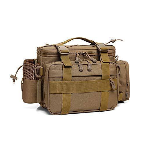 Outdoor multifunktionale Tasche Hüfttasche Schulranzen Angelausrüstung Tasche Angeltasche Ködertasche Tarnung wasserdichte große Hüfttasche (Brown)