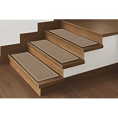 Ottomanson Set Variation of Skid-Resistant Rubber Backing Non-Slip Carpet Stair Treads (8.5  x 26.5 -14Pack), 14 Pack, Dark Beige