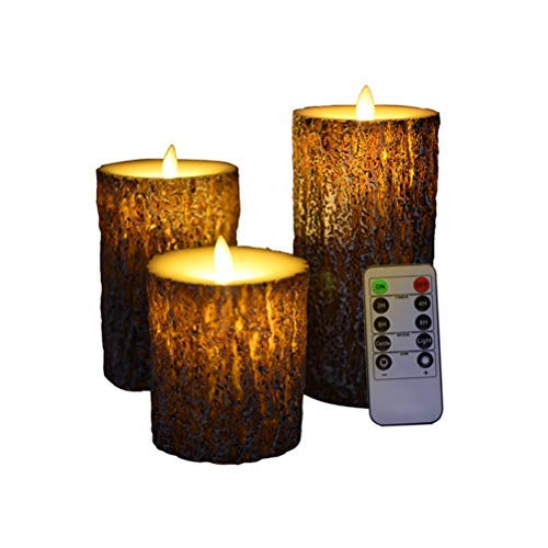 Flameless Flickering Pine Wood Tea Light with Remote Control, Flameless Candles Battery Operated Candles Led Candle Lights, Birch Candle Lights for Halloween Party Home Christmas(3Pcs)