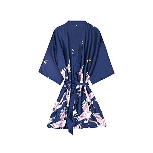 Lian Simulación Pijamas De Seda Damas Mangas De Primavera Y Verano Grúas Albornoces Servicio A Domicilio De Gran Tamaño Camisón para Mujeres (Color : Azul, Tamaño : XXL)