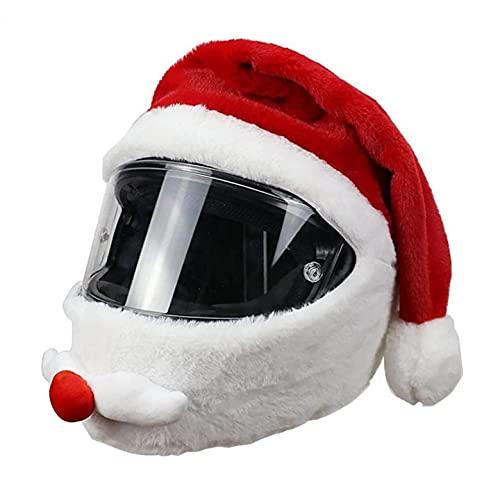 Sheey Casco de Moto Navideño Protección para la Cabeza Conjunto de Casco de Moto de Papá Noel Gorro Navideño Conjunto de Casco Divertido Decoración Creativa