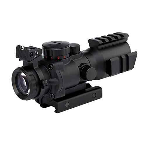 KIFFAY Luftgewehrvisier 4x32 ACOG rot/grün/blau Dreifachbeleuchtung, mit oberem Glasfaservisier und Geflechtschlitz