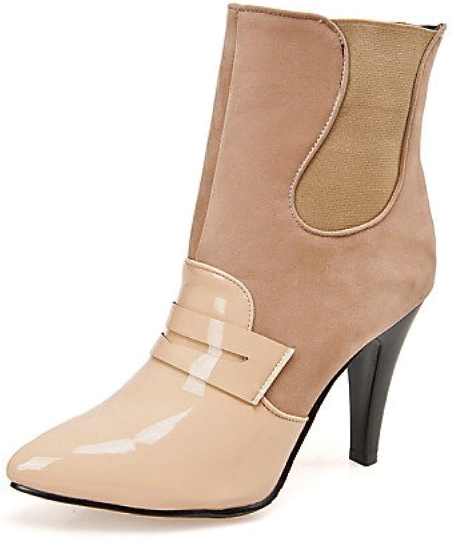 XZZ  Damenschuhe - Stiefel - Büro   Kleid   Lässig - Kunstleder - Konischer Absatz - Spitzschuh   Geschlossene Zehe -Schwarz   Rot   Orange   B01L1GWBMQ  Billig