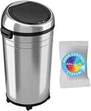 iTouchless 23 Gallon Touchless Sensor Trash Can with Odor Control System & Wheels, 87 Liter Commercial Size Automatic Garbage Bin, Brushed Stainless Steel