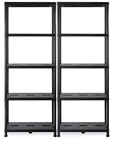 Ondis24 2X Regal, Lagerregal, 71 x 35 x 180 (H) cm, Steckregal, Kunststoffregal, 15 Zoll Schwerlastregal, bis zu 180 kg belastbar