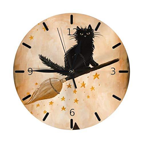 Eileen Max Orologio da Parete Rustico a Tema Cat Vintage Mini con Design a Tema di Halloween