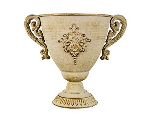 PARTS4LIVING Pflanzpokal dekorative Amphore aus Metall Metallschale Pflanzgefäß Pflanzschale mit Henkeln antik weiß braun gekalkt 25 x 12 x 21,5 cm