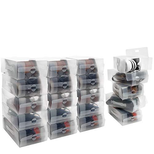 Kurtzy Caja Zapatos Plástico Transparente (Pack de 20) Apto para Zapatos de Mujer, Hombres y Niños - Organizador de Zapatos Plegable, Corrugado y Apilable para Viajes y Almacenaje