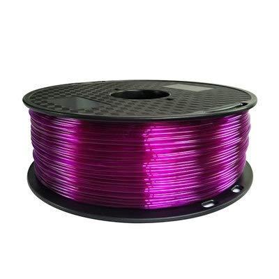 TONGDAUR TPU 3D Filament Flexible Soft 3D Printing material Filament flex 1.75mm Printer Modeling (Color : 1kg tran purple, Size : Free)