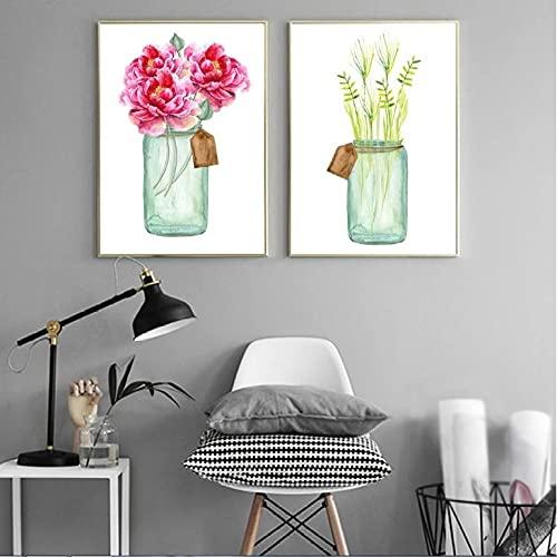 bajbajbaj1 2 Piezas de Arte Moderno Pinturas únicas de Flores en Botellas Cuadro sobre Lienzo para Pared para decoración de Sala de Estar sin Marco