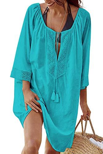 heekpek Vestido de Playa Suelto Camisola y Pareo para Cubrir Bikini Traje de Baño Muje(Azul)