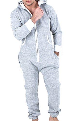 Juicy Trendz Neue stilvolle elegante Herren-Kapuzenjacke Hoody Strampelanzug Körperanzug Jumpsuit Herren Overall, GR.L