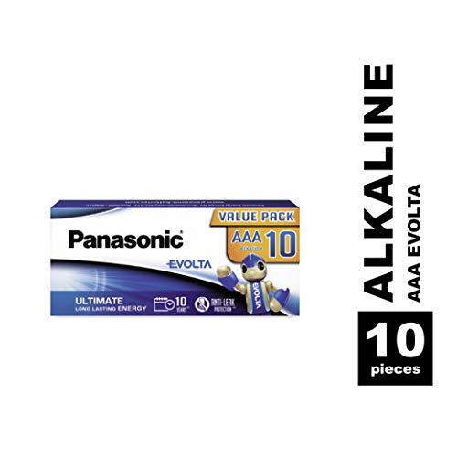 Panasonic Evolta Alkaline Batterie, AAA Micro LR03, 10er Pack in plastikfreier Verpackung, 1.5V, Premium-Batterie mit besonders Energie & AmazonBasics Performance Batterien Alkali, AA, 12 Stück