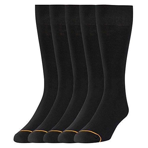 Signature Gold by GOLDTOE Men's Flatknit Crew Socks 5pk - Black 6-12.5