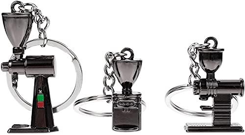 HXR llaveros Coche 3 unids Retro Coffee Machine Colgante Llavero Metal Llavero Elegante y Encantador Llavero para Bolso de Bolso Bolso Coche Llavero Adorno llaveros Coche