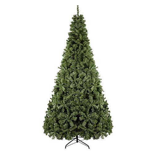 BEAMNOVA Unlit Artificial Christmas Tree 9 Ft Yellow Green 2028 Tips, with Stand, Ornaments NOT Included