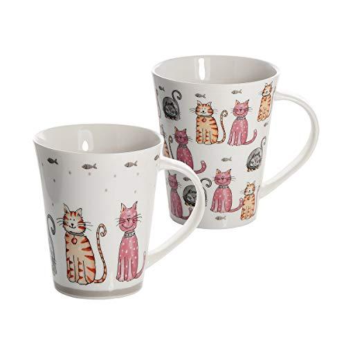 SPOTTED DOG GIFT COMPANY Tazas de té, Tazas de café, Conjunto de 2 Tazas con diseño de Gatos, Porcelana Blanca de Calidad Regalos Gato