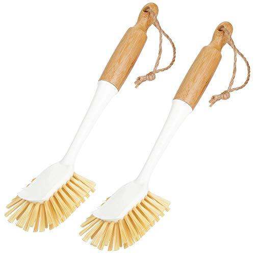 mDesign 2er-Set Spülbürste aus Bambus – lange Küchenbürste zur Reinigung von Töpfen, Pfannen, Tellern und Besteck – auch als Gemüsebürste geeignet – weiß/naturfarben