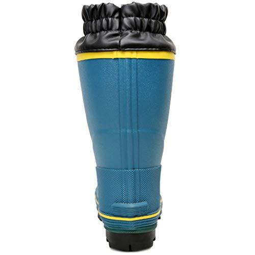 VAN+ Uomini Blue Rain Boots ha Riempito Il Collare Caldi Pattini per Wet Cold Weather Lungo Impermeabile di Combattimento Caccia Boots per Mud Giardino Pesca Outdoor lavori agricoli,Blu,42