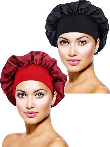 2 Piezas de Gorro de Dormir de Noche de Satén Cubierta de Cabeza para Mujeres Chicas Dormir (Negro, Rojo Vino)