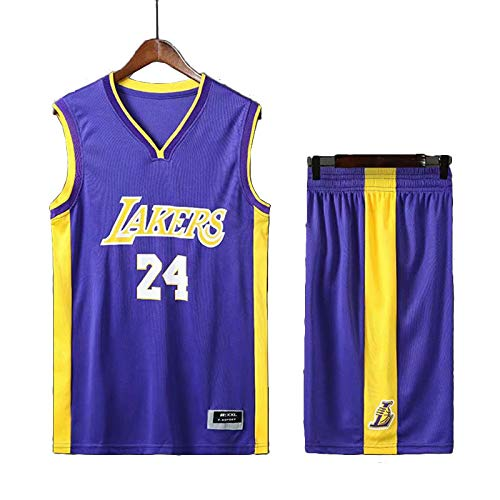Divise da basket per uomo e donna, NBA Kobe Bryant # 24 Los Angeles Lakers RETRO Divise da basket Gilet estivo Completo da basket Top e pantaloncini, in memoria del grande Kobe Bryant