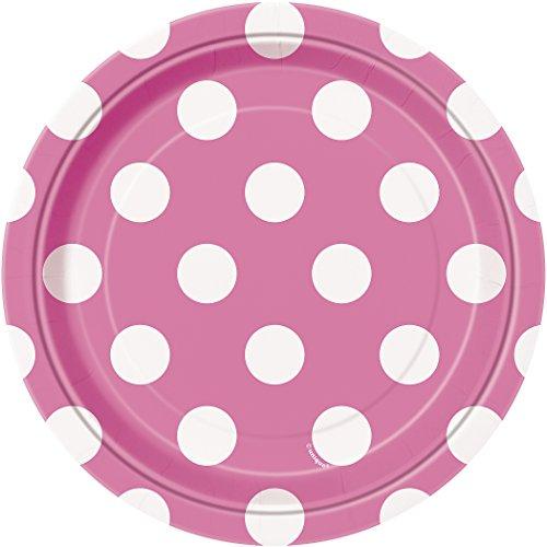 Hot Pink Polka Dots Paper Party Plates x 8