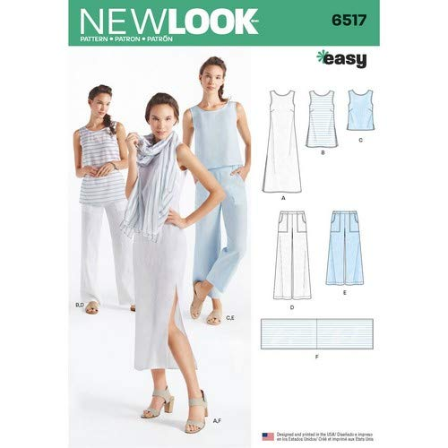 Simplicity Muster New Look Damen Kleid/Tunika/Top/Pants/Schal Schnittmuster, weiß