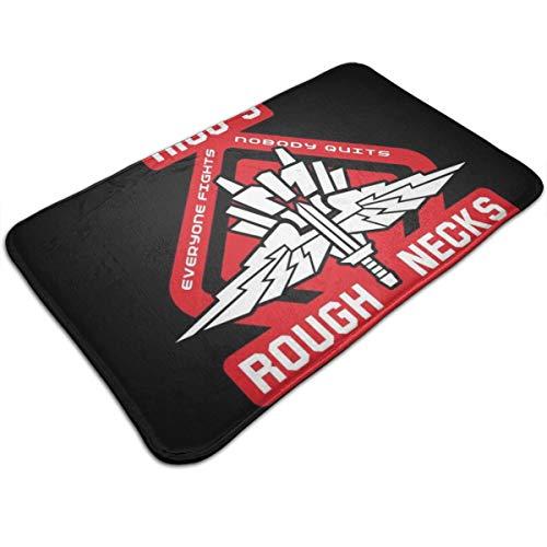 HUTTGIGH - Felpudo antideslizante para puerta de entrada con logotipo de la nave estelar Ricos Roughnecks, alfombra de baño de 19,5 x 31,5 pulgadas de área absorbente.