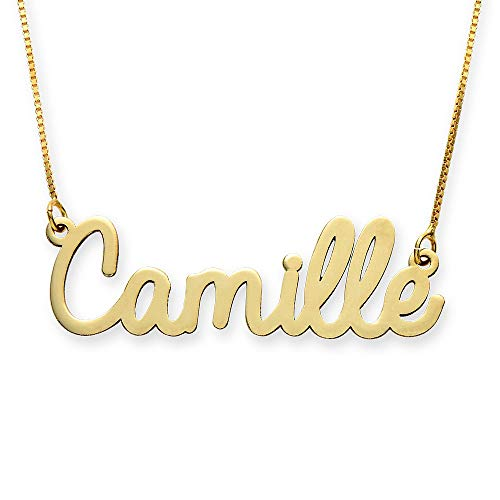 MyNameNecklace Personalized Cursive Name Necklace- Custom Made Jewelry Nameplate Gift for Christmas (16, 10K Yellow Gold)