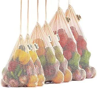 3 Pack Reusable Cotton Mesh Produce Bags, Washable, Eco Friendly for Grocery Shopping, Fruit and Vegetable Storage an...