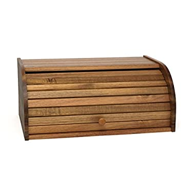 Lipper International 1146 Acacia Wood Rolltop Bread Box, 16  x 10-3/4  x 7