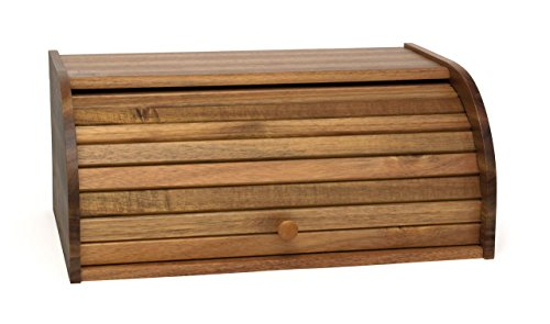 Lipper International Acacia Wood Rolltop Bread Box, 16' x 10-3/4' x 7'