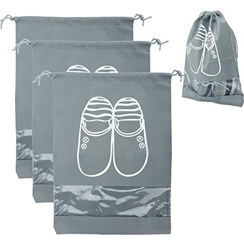 Intirilife 3X Schuhbeutel in GRAU – Set mit 3 Schuhsäcken mit transparentem Fenster und Zugband aus Staub- und wasserabweisendem Vliesstoff – Schuh Organizer Aufbewahrung