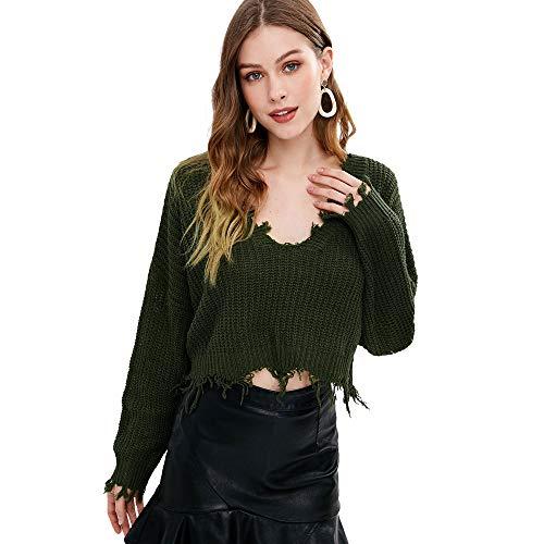 ZAFUL Women's Casual Long Sleeve Loose Knitted Jumper Sweater Pullover Winter Top Outwear (Armee-Grün)