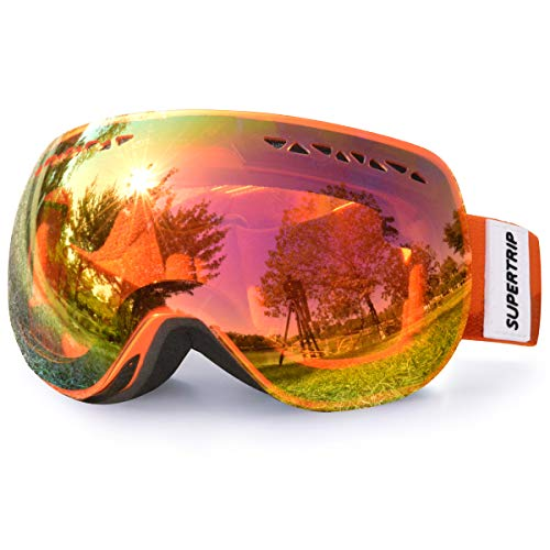 Supertrip Skibrille Damen Herren Snowboardbrille verspiegelt Ski-Schutzbrillen 100% UV400 Schutz für Brillenträger Antifog (Orange Revo Rot (VLT 31%))