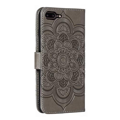 Mikikit Funda Celular Cuero para Apple iPhone 7 Plus/8 Plus, Cubierta Cuero Pata de Cabra, Cover de Folio Abatible con [Ranuras Tarjetas] [Correa la Muñeca] para iPhone 7 Plus/8 Plus Gris