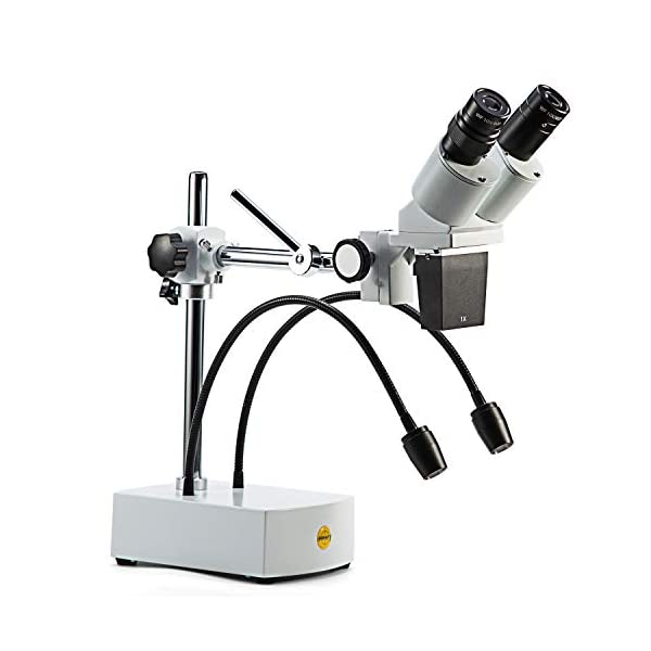 SWIFT S41-20 Professional Dissecting Binocular Stereo Microscope, WF10x WF20x Eyepieces, 10X 20X Magnification, 1X Objective, LED Lighting, Boom-Arm Stand